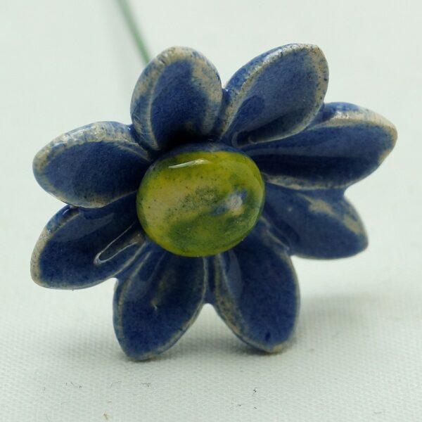 Keramikblomst blå