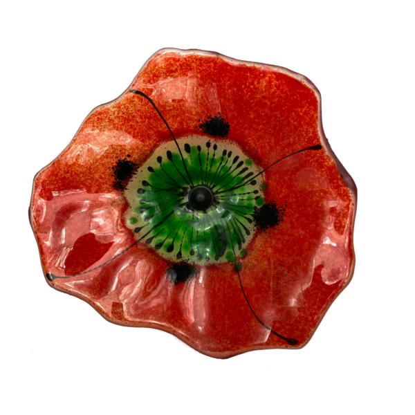 Rød klar glasblomst fra Grevelsgaard