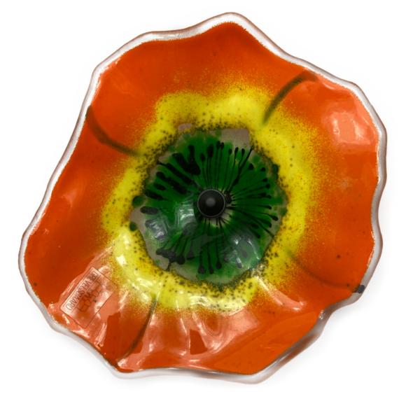 Glasblomst, orange opak, Grevelsgaard