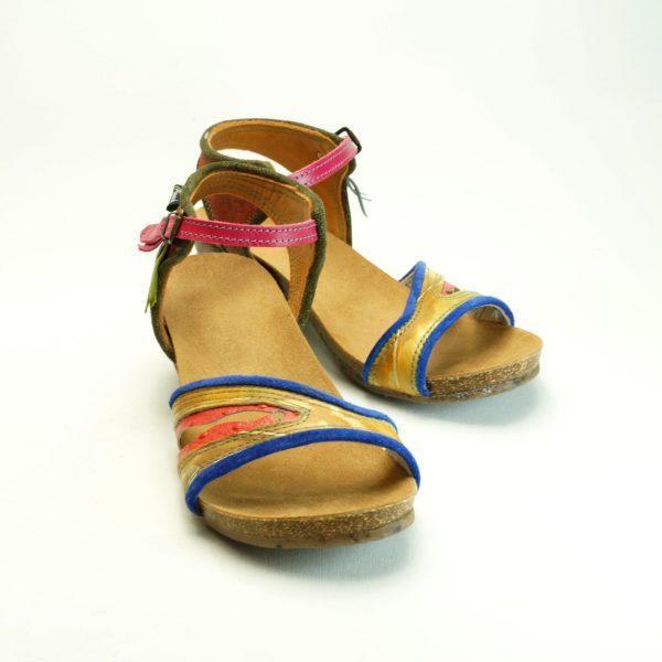 Håndsyet sandal. str. 40. Farverig unika sandal fra Pisaverde