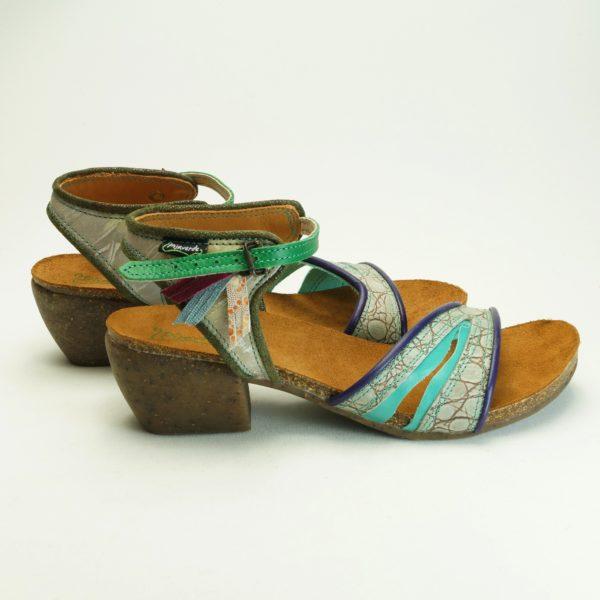 Batussi fra Pisaverde. str. 41. håndsyede unika sandaler i farveig og mønstret læder og skind