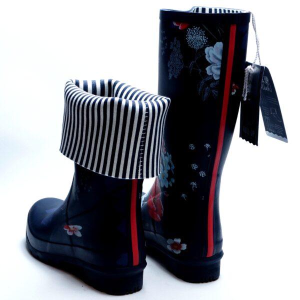 Mønstrede lange gummistøvler. Kan rulles sammen