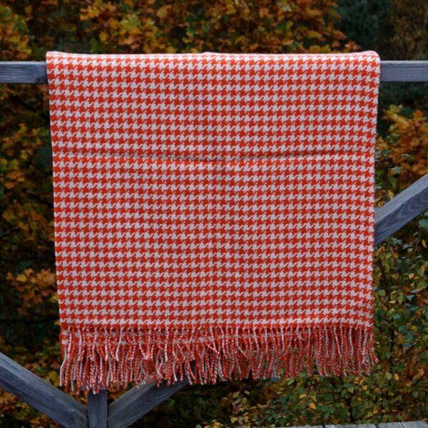 Plaid orange mønster, lammeuld