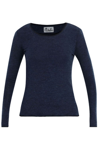 Jalfe uld lange ærmer melange jeansblå