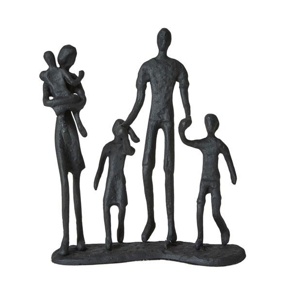 Sort jernfigur, par med tre børn