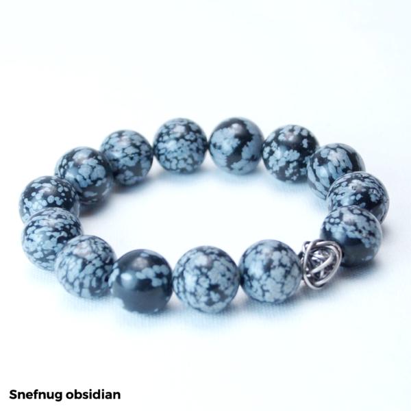Armbånd snefnug obsidian