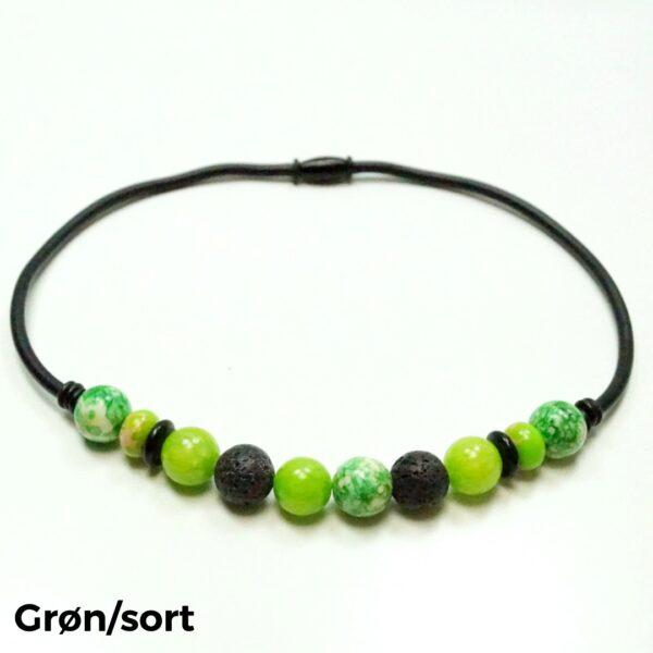 Halskæde sten og gummi grøn/sort