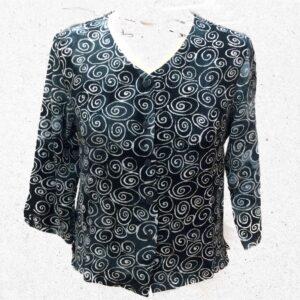 Campur batik kort jakke gråblå