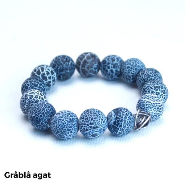 Armbånd gråblå agat