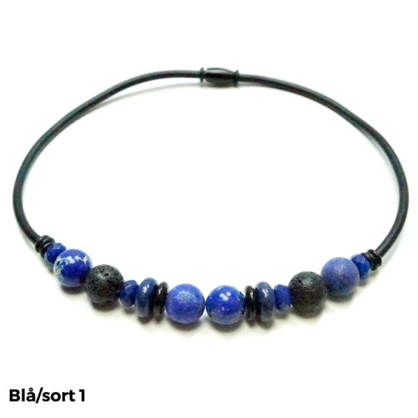 Halskæde sten og gummi blå/sort