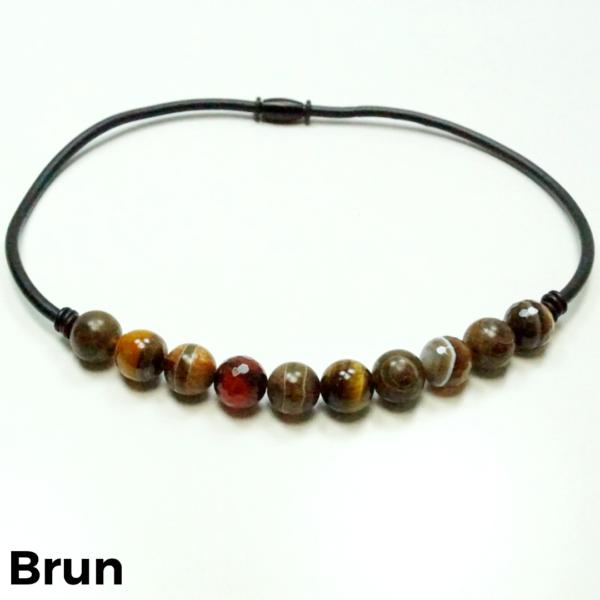 Halskæde sten og gummi brun