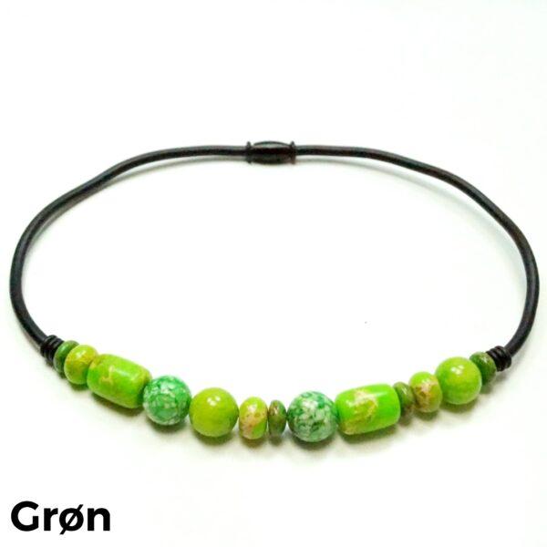 Halskæde sten og gummi grøn