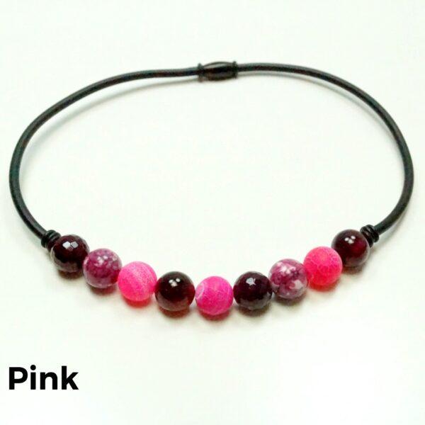 Halskæde sten og gummi pink