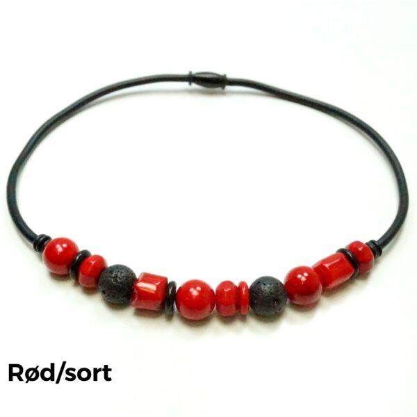 Halskæde sten og gummi rød/sort