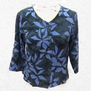 Campur batik kort jakke blå