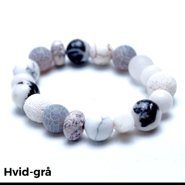 Armbånd sten hvid-grå