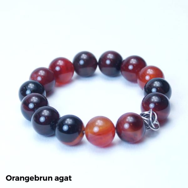 Armbånd orangebrun agat