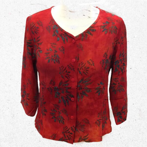 Campur batik kort jakke rød