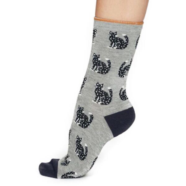 Bambusstrømper, grå kat