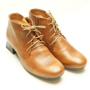 Think! Ankelstøvle i brun læder