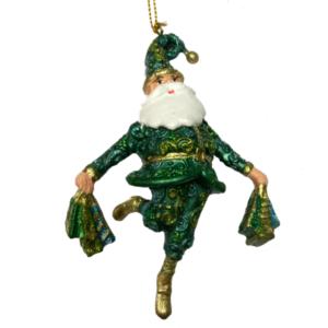 Eventyrfigur, julemand, grøn med gaver
