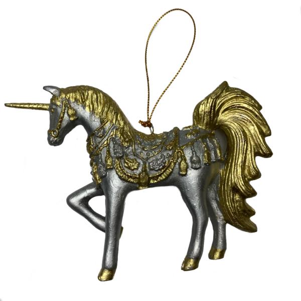 Eventyrfigur, enhjørning sølv/guld