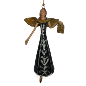 Eventyrfigur, sort engel med lygte