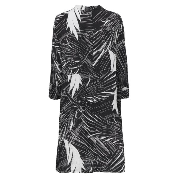 Masai skjortekjole Iosetta, sort med hvidt print
