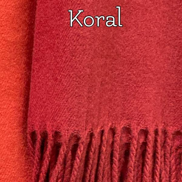 Koralrødt tørklæde i kashmere