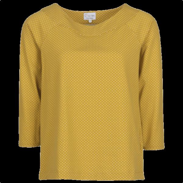 Charles carmen gul bluse med prikker