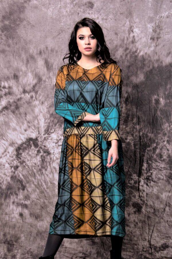 Charles Maria kjole med grafisk mønster