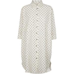Nora Shirt Dot lang prikket skjorte fra Basic Apperal