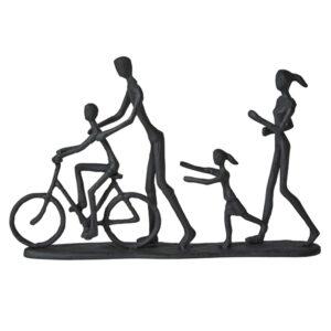 Jernfigur i mat sort af familie der løber og en der cykler