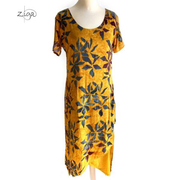 Campur mønstret Tiga kjole med korte ærmer. Gul W.337
