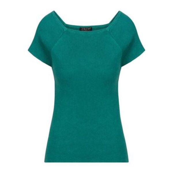 Grøn fintstrikket Zilch top med korte ærmer, emerald