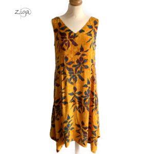 Campur gul mønstret kjole Valerie uden ærmer
