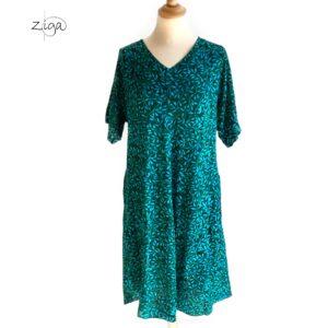 Campur Lucy Midi kjole grøn med mønster W.345. Med V-hals