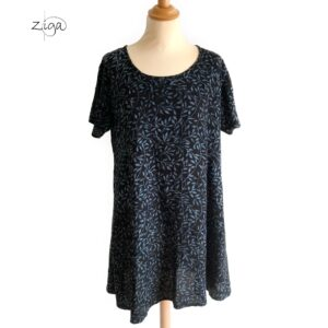 Campur mønstret kjole Veronika grå W.342. Med rund hals og korte ærmer