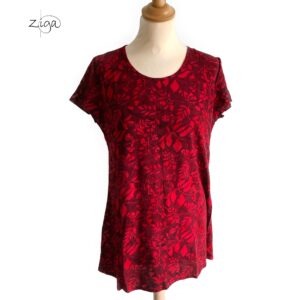 Campur bluse Elvira rød W242. Med korte ærmer og rund hals