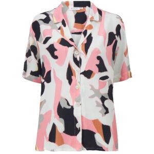 Masai Idone skjorte med korte ærmer i rosa, hvid og sort mønster