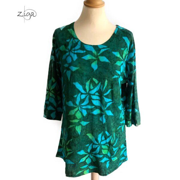 Campur mønstret Mathilda bluse i grøn og turkis W.319