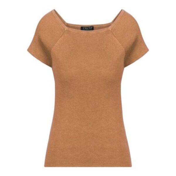 Rustfarvet fintstrikket Zilch top med korte ærmer, rust
