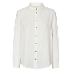 Basic Apparel off-white skjorte med knapper og lange ærmer