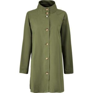 Masai Terasa jakken i oliven grøn. En A-formet frakke med lommer