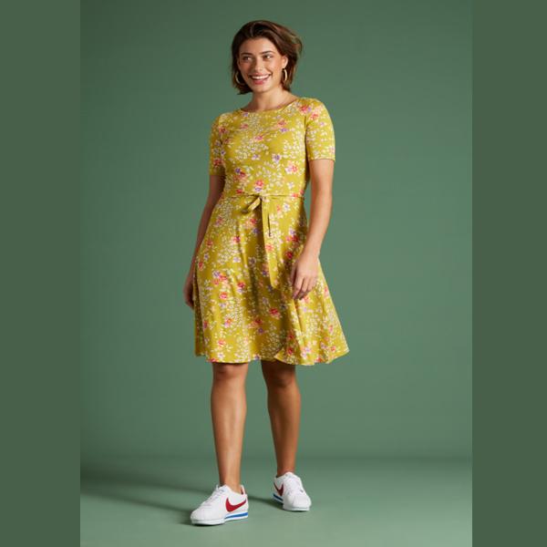 King Louie Betty kjole Maripose med blomsterprint spring yellow