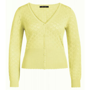 King Louie lys gul cardigan V-hals heart med knapper