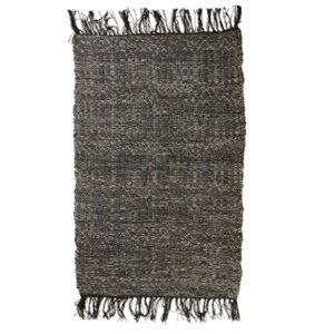 Lædertæppe med frynser 70x140 cm grå 141819