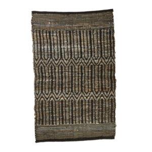 Lædertæppe 60 x 90 cm mønster sort/grå