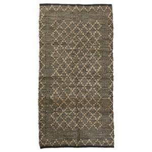 Lædertæppe 70 x 140 cm med mønster i grå