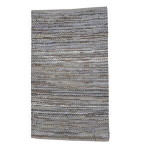 Lædertæppe grå/beige striber 60x90cm